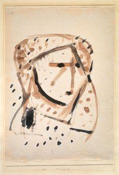 "Bildnisskizze M (sketch) by Paul Klee 1928 Watercolor and pen on paper 18 x 12.8"""
