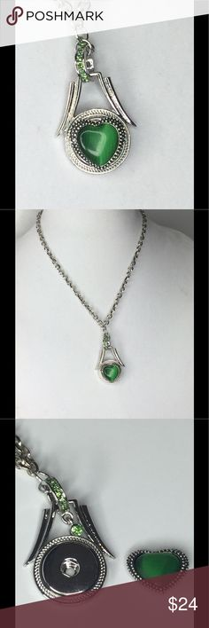 Green Snap Interchangeable Necklace Snap/Interchangeable Jewelry  Antique sliver flower carved jewelry with 18mm snap buttons,  and interchangeable jewelry, very versatile, personalize jewelry. You can design your own jewelry. Oracle Jewelry Jewelry Necklaces