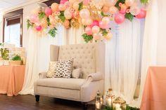 bridal shower venue balloon wreath loveseat decor bride bride to