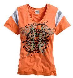 Harley-Davidson® Women's Orange V-Neck Tee