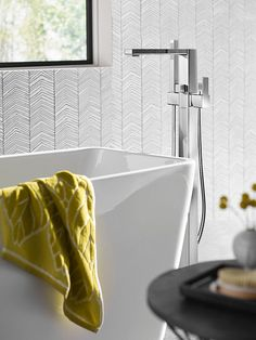 90 Degree Chrome one-handle tub filler includes hand shower -- S905 -- Moen Tub Faucet, Sink, Walk In Tubs, Contemporary Baths, 90 Degrees, Displaying Collections, Chrome, Minimalist, Handle