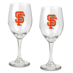 San Francisco Giants 2 Piece Wine Glass Set by Great American Products. $29.99. Handcrafted  high-quality metal logo. Decorated with hand-crafted Official Team Logos.. The perfect compliment to your Bar or Game Room décor.. Classically designed pair of 15oz Glass Mugs.