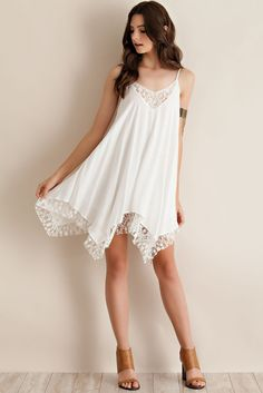 Lace Handkerchief Dress - Off White