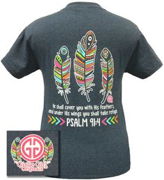 ae7367f02 Girlie Girl Originals Aztec Feathers Psalm 91:4 Christian Bright T Shirt  Christian Tees,