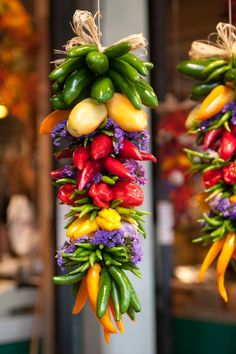 wedding decoration, inspiration, centerpiece, garland, flowers alternative | A colorful ristra full of beautiful chillies.