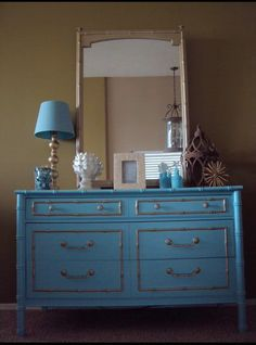 Thomasville Bamboo Dresser With Gold Accents
