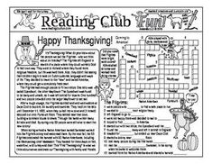 """THANKSGIVING - Pilgrims Coming to America 2-page activity set. And a """"What Are You Thankful For?"""" word search puzzle."""