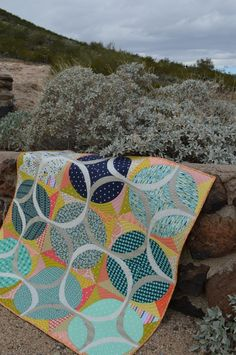 Ring Around quilt pattern by Sharon McConnell, modern curved piecing wedding ring quilt