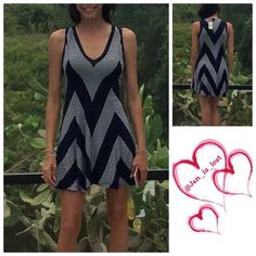 "Fit & Flare Dress XS & M Throw on some sandals and head out the door in this amazing fit and flare dress.  Chevron stripes bring zigzag zest to a sleeveless V-neck mini. - V-neck - Sleeveless - Approx. 35"" length Fiber Content: 95% rayon, 5% spandex Does have stretch!! Max Studio Dresses"