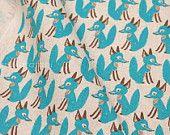 Japanese Fabric - Little Fox - aqua blue on natural - fat quarter