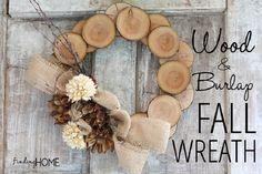 DIY WOOD & BURLAP NATURAL FALL WREATH