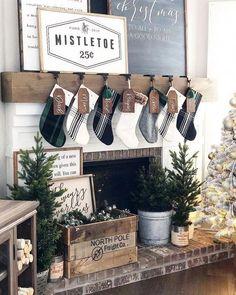 Farmhouse Christmas Decor - Farmhouse Christmas Fireplace | Our Faux Farmhouse #nailchristmas
