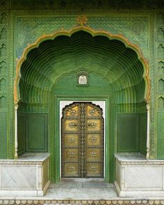 """One of the four gates at Pritam Chowk in the City Palace, Jaipur, India. Each gate represents one of the four seasons. The Green Gate, also called Laheriya (meaning: """"waves"""") Gate, represents spring. Cool Doors, Unique Doors, When One Door Closes, Door Knockers, Closed Doors, Doorway, Stairways, Windows And Doors, Monuments"""