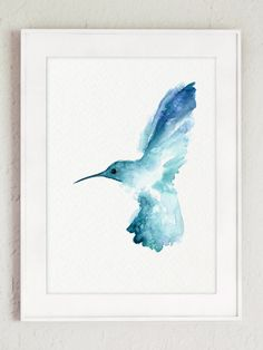 Hummingbird Watercolor Painting, Blue Bird Wall Decor, Nature Animal Painting, Birds Garden Art Print by ColorWatercolor on Etsy