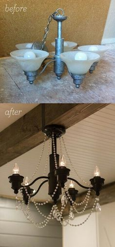 Kids want a chandelier for Christmas.Maybe a DIY project? Jenna Sue: Master Makeover: A DIY Chandelier Transformation Chandelier Makeover, Diy Chandelier, Outdoor Chandelier, Master Bedroom Chandelier, Light Fixture Makeover, Furniture Makeover, Diy Furniture, Metallic Furniture, Diy Luz