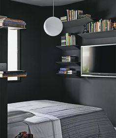 quarto simples de solteiro masculino cinza escuro
