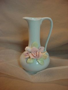 Vintage Vase Pale Blue w Raised Pastel Rose Flowers 4 inches tall Japan