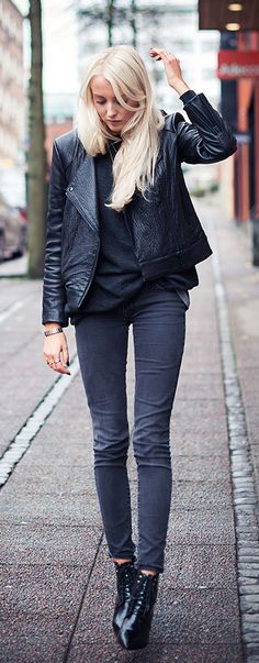 Ellen Claesson in her Adamina leather jacket from House Of Dagmar