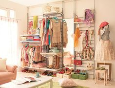 Don't have a closet? No worries! Make your own personalized closet with hooks and stand alone racks.
