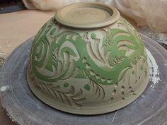 Gary Jackson-slipped & carved bowl