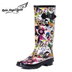 49.99$  Watch here - http://aliar0.worldwells.pw/go.php?t=631131594 - Fashion Women High Rain Boots Printed Cartoon Jelly Boots  Women Designer Rainboots Women Water Shoes