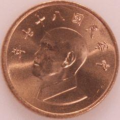 1 Yuan #Taiwan  1981-2012 Ritrae Chiang Kaishek, fondatore e presidente della Repubblica Cina Nazionale 1949.