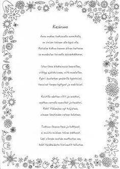 Kesäinen värityskuva ja runo