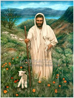 In this beloved allegory, Jesus is our Good Shepherd who will lay down his life for the sheep. He cradles a newborn lamb in his arm while another lamb is at his feet. He carefully watches over his flock that follows him wherever he goes. The Sea of Galilee is in the background.