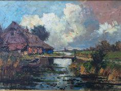 Clement van Vlaardingen 1916-1973 'Landscape @Kortenhoef Holland' Techniek: Oilpainting