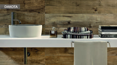 Cool Dakota Ceramic Tiles That Replicate Aged Wood With White Washbasin And Wall Mi