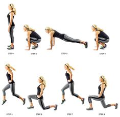 Try adding this burpee- lunge series to your routine! For more moves and variations, check out our fitness index! Reach your goals! Wellness Fitness, Fitness Tips, Health Fitness, Fitness Exercises, Gym Workouts, Burpees, Do Exercise, Excercise, Hiit