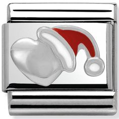 Nomination Charm Silver Heart With Christmas Hat