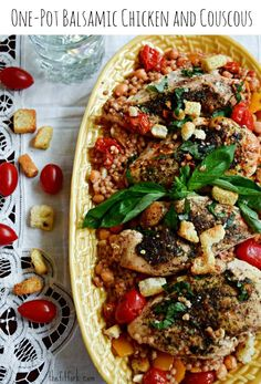 One Pot Balsamic Chicken and Couscous -- an easy and healthy dinner for weeknights or entertaining!