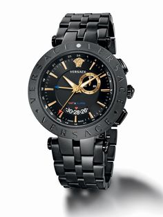 The Versace, V-Race GMT & Alarm watch, a sport-loving bestseller with globetrotting functions. Iwc Watches, Army Watches, Cool Watches, Watches For Men, Pocket Watches, Patek Philippe, Rolex, Michael Kors, Luxury Watches