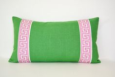Kelly Green Pillow Cover with Pink Greek Key Trim; can she make with black greek key instead?