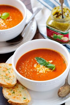 The secret ingredient of this tomato basil soup? Basil pesto. Pair it with grilled cheese or toasted bread for the ultimate fall dish.