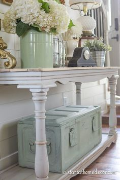 Love the table. LOVE the color of the trunk under the table. If you're looking for a velvety, farmhouse-inspired finish for your furniture, consider using milk paint. This non-toxic and environmentally-friendly paint is made from organic materials (the main ingredients are milk/quark and lime). It has no odor or VOCs, and is water-based. It doesn't come in a huge range of colors like regular latex paint, but there are options ranging from ... Read More