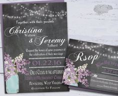 Country Mason Jar Wedding Invitation Set, DIY Rustic Wedding Invitations, String Lights & Purple Lilacs Printable Chalkboard Wedding Invite