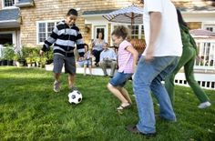 Party Games for Soccer Kids, including ideas like SOCCER BOWLING - kick soccer balls to knock down bowling pins (or plastic bottles, pringles cans) and AIRHEAD - use head (or knees, or feet, but no hands!) to see who can keep an inflated balloon in the air the longest and a few more ideas...