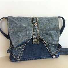 Small  messenger bag  one of a kind recycled jean cross por Sisoi, $42.00