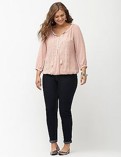 c1a0fdeae Plus Size Embellished Peasant Top Peasant Blouse, Peasant Tops, Trendy Plus  Size Clothing,
