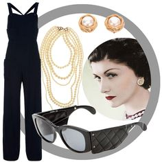 Vintage Lookbook:   Mmmmm, I love Chanel – well I only own a bottle of Chanel No. 5 and 1 lonely Chanel lipstick, but I'd love to be able to wear Chanel from head to foot.  I expecially love this black vintage jumpsuit – just wear with lashings of pearls, dark red lipstick and lashings of attitude! Clockwise from top left: Vintage Jumpsuit by Chanel Vintage,  Pearl Glam Necklace by ModCloth, Pearl Clip Chanel Vintage Earrings and Vintage Chanel Padded Sunglasses, both by Chanel Vintage