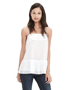 Always well dressed in Banana Republic. Loving this chiffon cami   Pleated Chiffon Cami Product Image