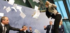 Smiling European Protester Is Very Happy to Be Throwing Confetti on Central Bank President Today In Pictures, Cool Pictures, What Happened This Week, Central Bank, Confetti, Conference, Playing Cards, Shit Happens, World