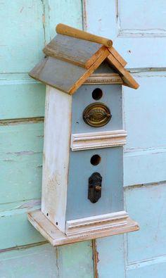 Vintage Blue Birdhouse shabby chic birdhouse by SweetieMarmalade, $48.00
