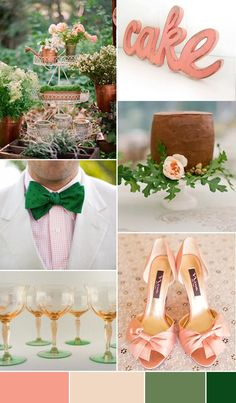 Pretty as a Peach and Green Wedding Inspiration _ I would have never put these colors together, but they look great!