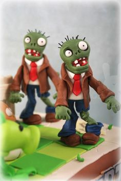 Discover recipes, home ideas, style inspiration and other ideas to try. Zombie Birthday Cakes, Zombie Birthday Parties, Zombie Party, Boy Birthday, Zombies Vs, Plant Zombie, Plant Vs Zombie Cake, Plantas Versus Zombies, Fondant Toppers