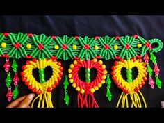 Macrame New Design 💓 Heart Shape Toran ! Tiutorial In Hindi ! Full HD Part Macrame Thread, Macrame Art, Macrame Knots, Macrame Jhula Design, Macrame Design, K Crafts, Diy Crafts Jewelry, Paper Flowers Diy, Fabric Flowers