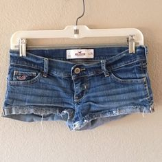 Hollister Jean Short Shorts I'm selling some Hollister jean short shorts. Really short, fit a little smaller than the size it is. Very cute in the summer with a crop top and/or some ankle boots! Only worn a couple times and in good condition. Hollister Shorts Jean Shorts
