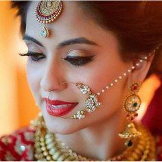 #Sara Bridal Makeup Looks, Indian Bridal Makeup, Bridal Beauty, Wedding Makeup, Bride Photography, Indian Wedding Photography, Nose Jewels, Bridal Nose Ring, Bridal Hair